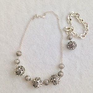 Silver Tone Filigree Circle Necklace & Bracelet